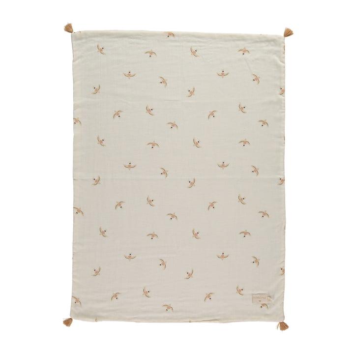 The Treasure Light blanket from Nobodinoz, 70 x 100 cm, nude haiku birds natural