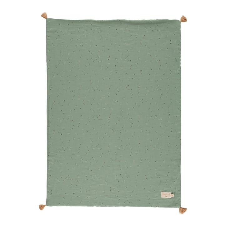 The Treasure Light blanket by Nobodinoz, 70 x 100 cm, toffee sweet dots / eden green