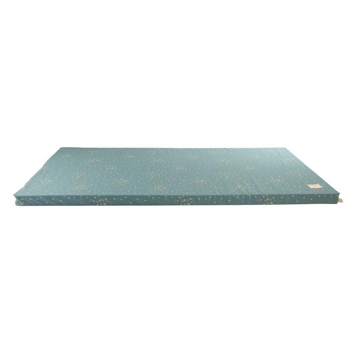 St Barth Play mattress 60 x 120 cm by Nobodinoz in gold confetti / magic green