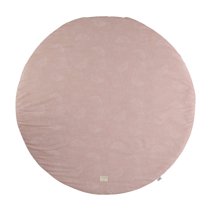 Full Moon Play mat Ø 105 cm by Nobodinoz in white bubble / misty pink