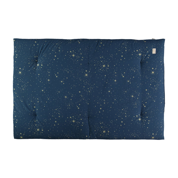 Eden Futon Play mat 100 x 148 cm by Nobodinoz in gold stella / night blue