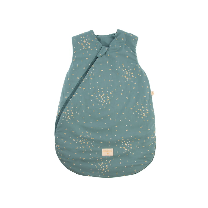 Cocoon Baby -Sleeping bag 0-6 months by Nobodinoz in gold confetti / magic green
