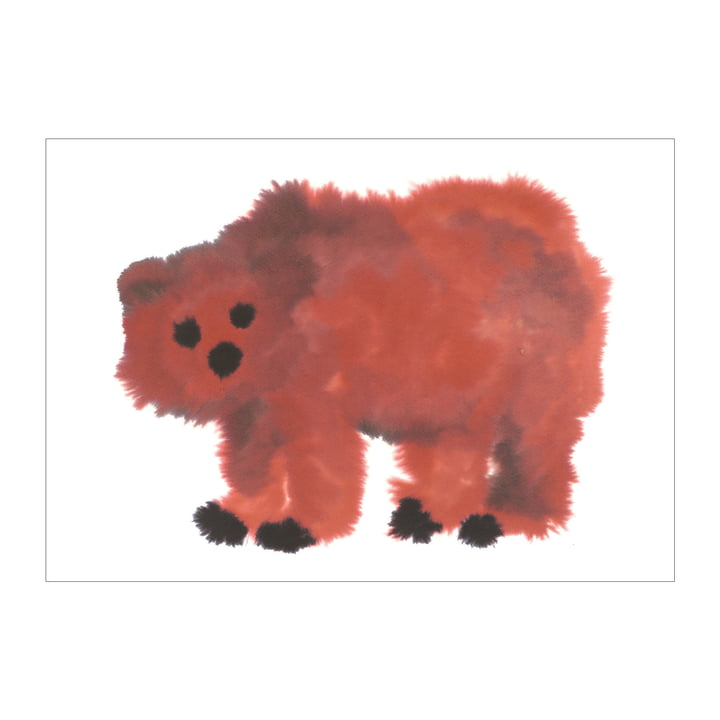 Bear poster 50 x 67,8 cm from The Wrong Shop in red / black
