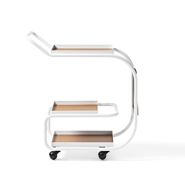 Zenzero Serving trolley from Opinion Ciatti in leather / matt white (RAL 9016)