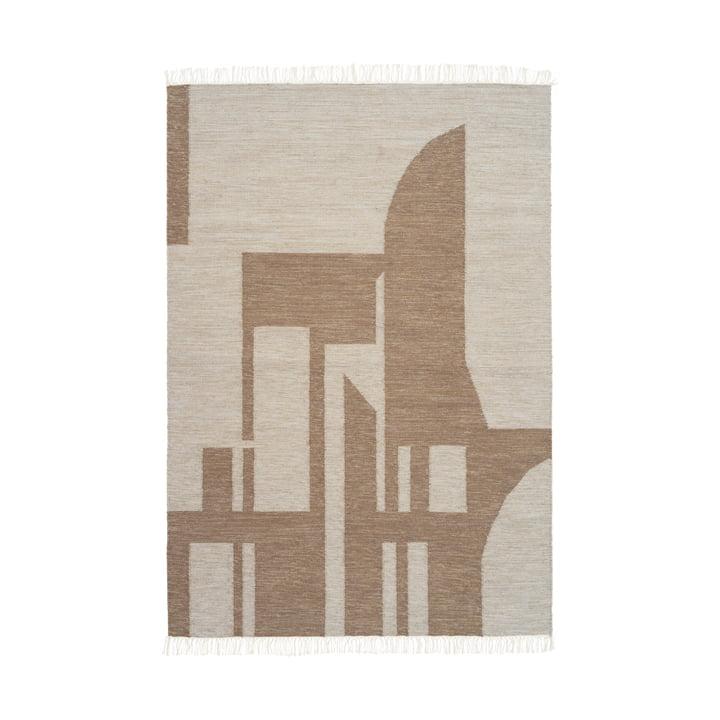 Contemporary Kelim carpet 140 x 200 cm from Kristina Dam Studio in white / brown