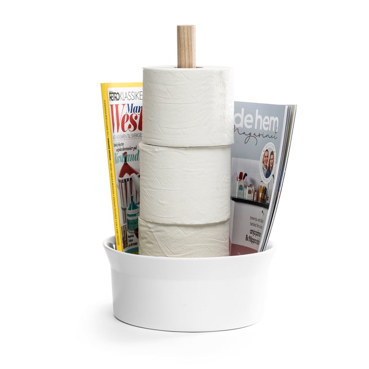 The Angle toilet paper holder from Born in Sweden , ash / white glossy