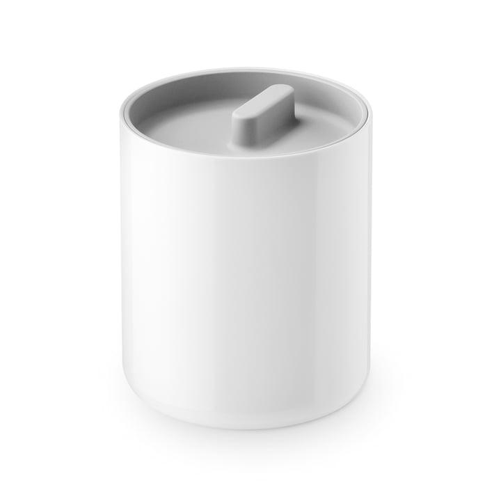 The Lunar lidded tin from Depot4Design , Ø 10 cm, white / grey
