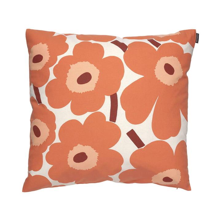 Pieni Unikko Pillowcase 50 x 50 cm from Marimekko in linen / orange / burgundy