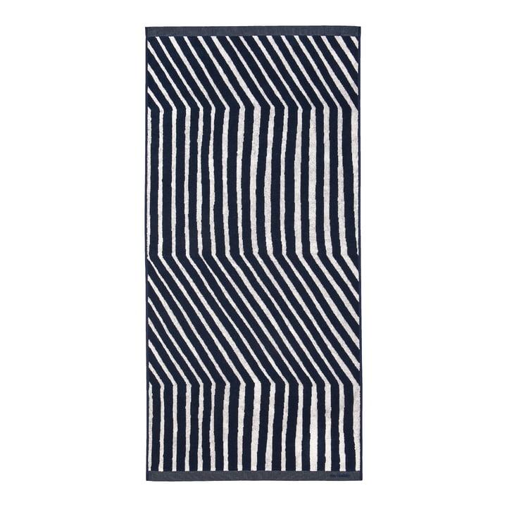 Kalasääski bath towel from Marimekko in the colours dark blue / off-white