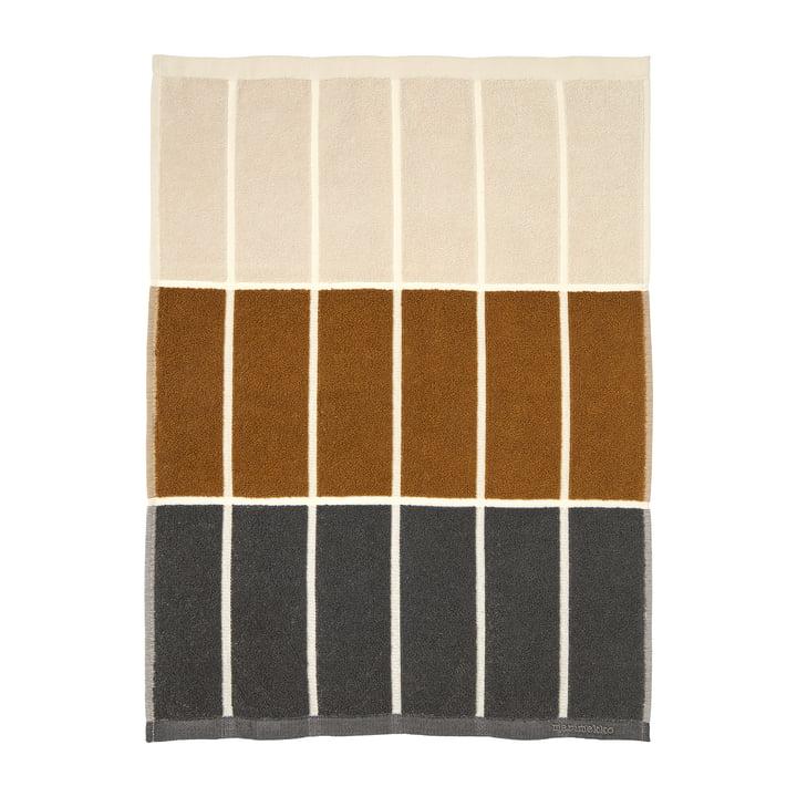 Tiiliskivi towel 50 x 70 cm from Marimekko in the colours dark grey / cinnamon / powder