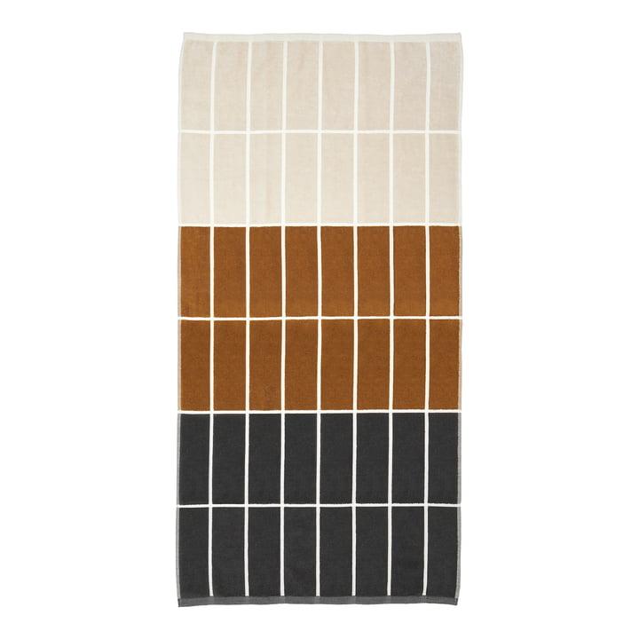Tiiliskivi Bath towel from Marimekko in color darkgrey / cinnamon / powder