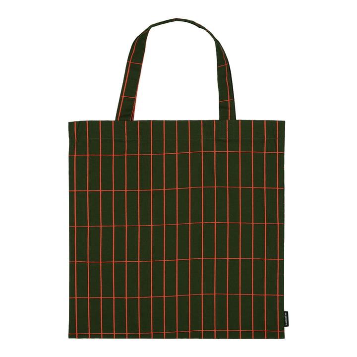 Tiiliskivi shopping bag from Marimekko in the colours dark green / red