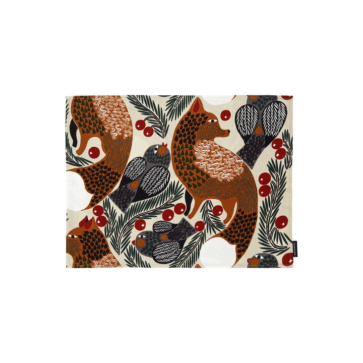 Ketunmarja placemat from Marimekko in the colours beige / brown