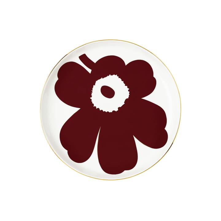 Oiva Juhla Unikko plate from Marimekko in the colors white / wine red / golden (winter 2021)