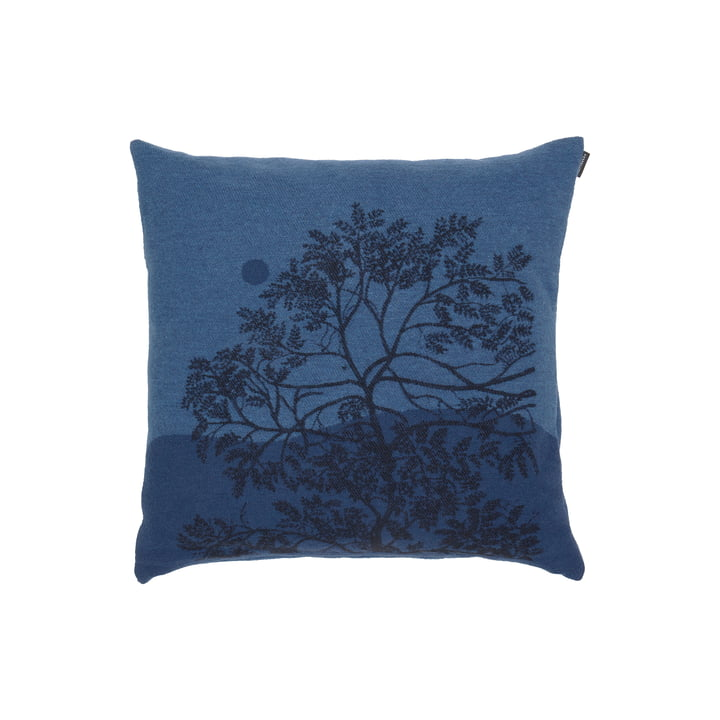 Puu Kuutamossa cushion cover from Marimekko in the colours grey blue / blue / black