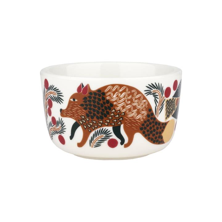 Ketunmarja bowl from Marimekko in the colours white / reddish brown / dark green