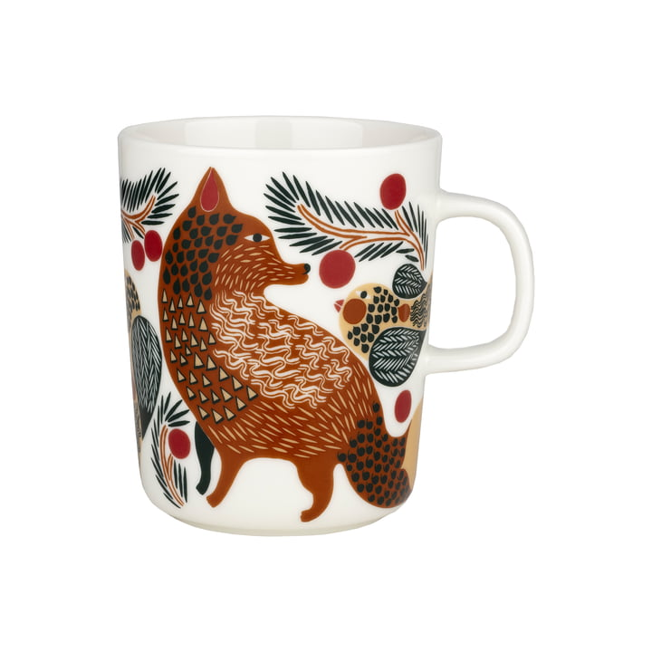 Ketunmarja mug with handle in the colors white / red brown / dark green