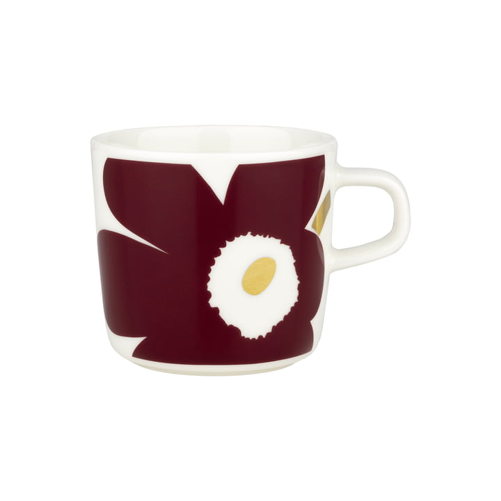 Oiva Juhla Unikko coffee cup from Marimekko in the design white / wine red / gold