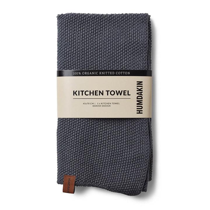 The Humdakin knitted kitchen towel, 45 x 70 cm, dark ash