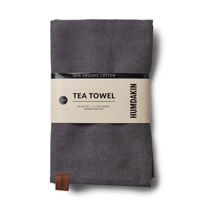 The Humdakin organic cotton tea towel, 45 x 70 cm, dark ash (set of 2)