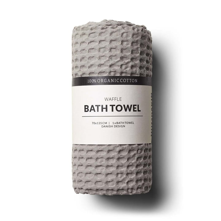 The bath towel with waffle structure by Humdakin, 70 x 135 cm, stone