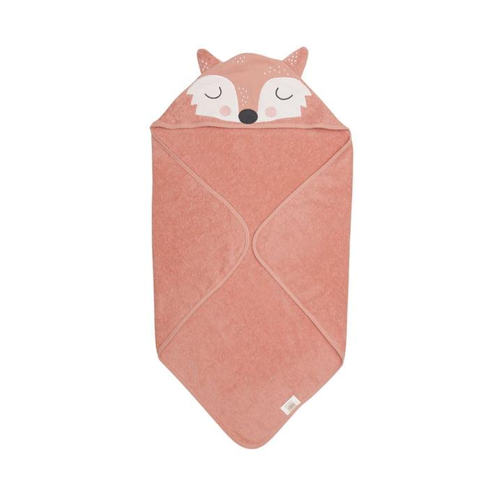 The Frida Fox Baby hooded towel from Södahl , 80 x 80 cm, orange