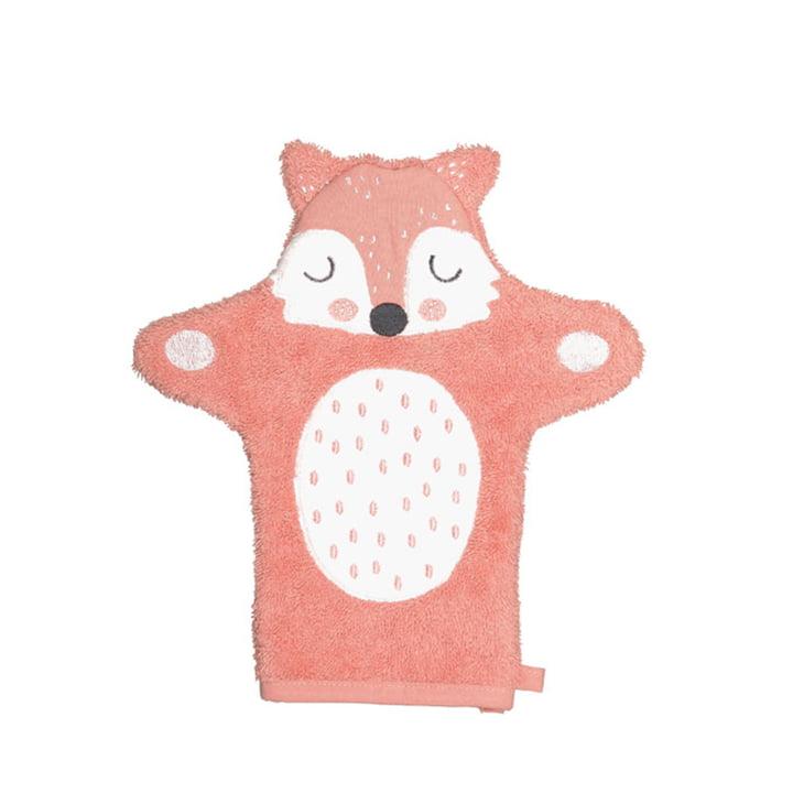 The Frida Fox children's wash mitt from Södahl , 11 x 21 cm, orange