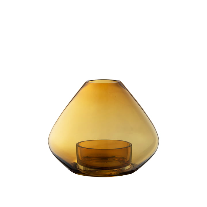 The Uno Wind light and vase from AYTM , Ø 14,5 x H 11,5 cm, amber