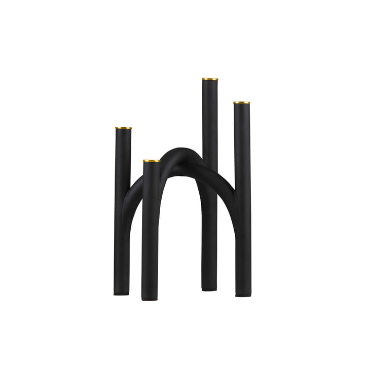 The Angui candle holder from AYTM , 22.8 x 22.8 x 34 cm, black / gold