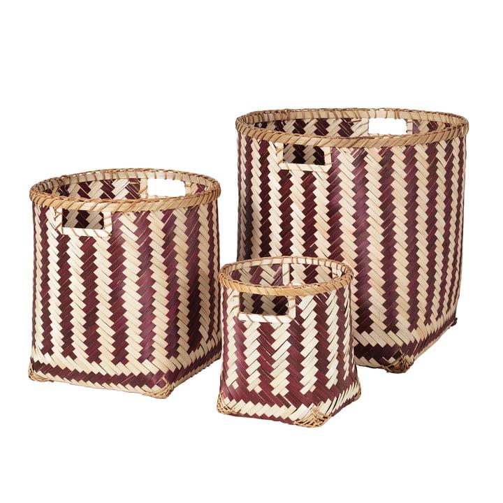 The Meli storage basket from Broste Copenhagen , red / natural (set of 3)