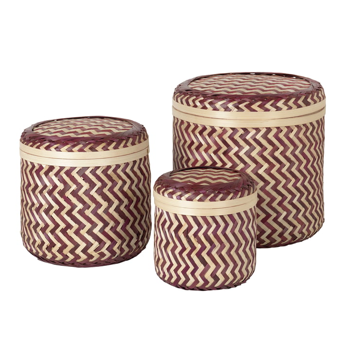 The Kasia storage basket from Broste Copenhagen , red / natural (set of 3)