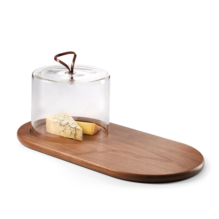 The Walnut cheese board with glass cover from Philippi , brown