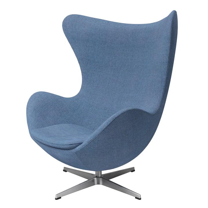 The Egg Chair from Fritz Hansen , brushed aluminium / dusk blue (Re-Wool)