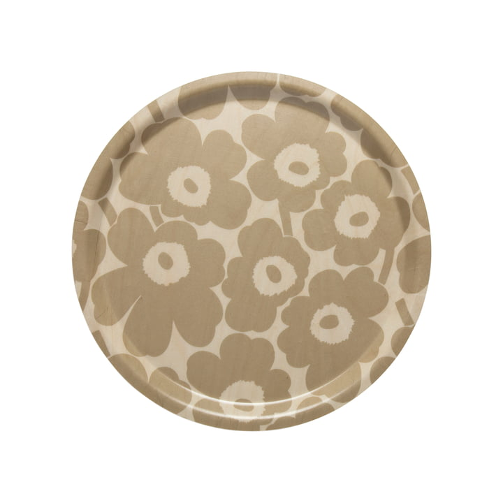Marimekko - Mini Unikko Tray round Ø 31 cm, beige / nature
