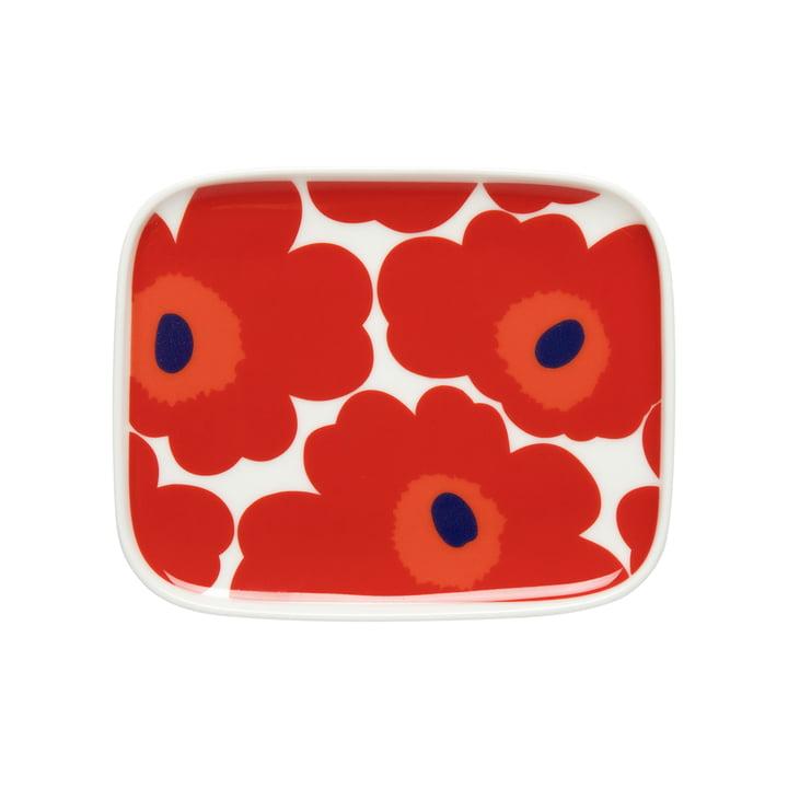 Marimekko - Oiva Unikko Serving dish, 15 x 12 cm, white / red