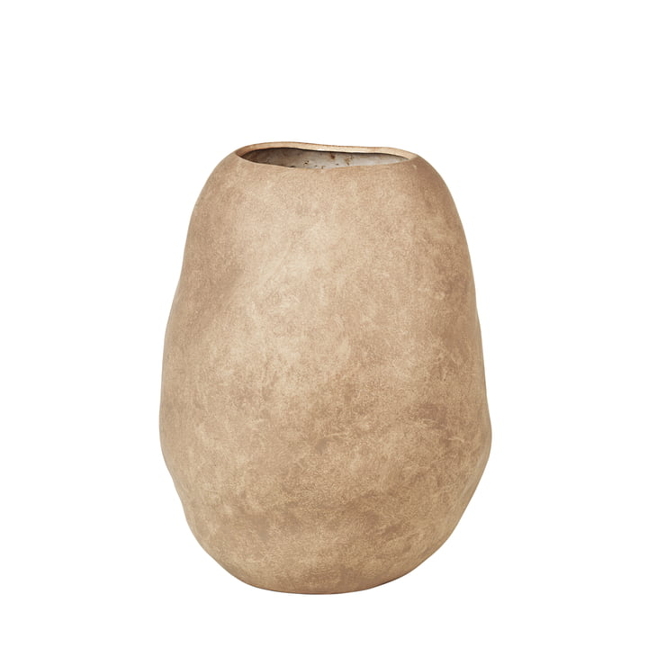Organic Vase, H 43 cm from Broste Copenhagen in simply taupe