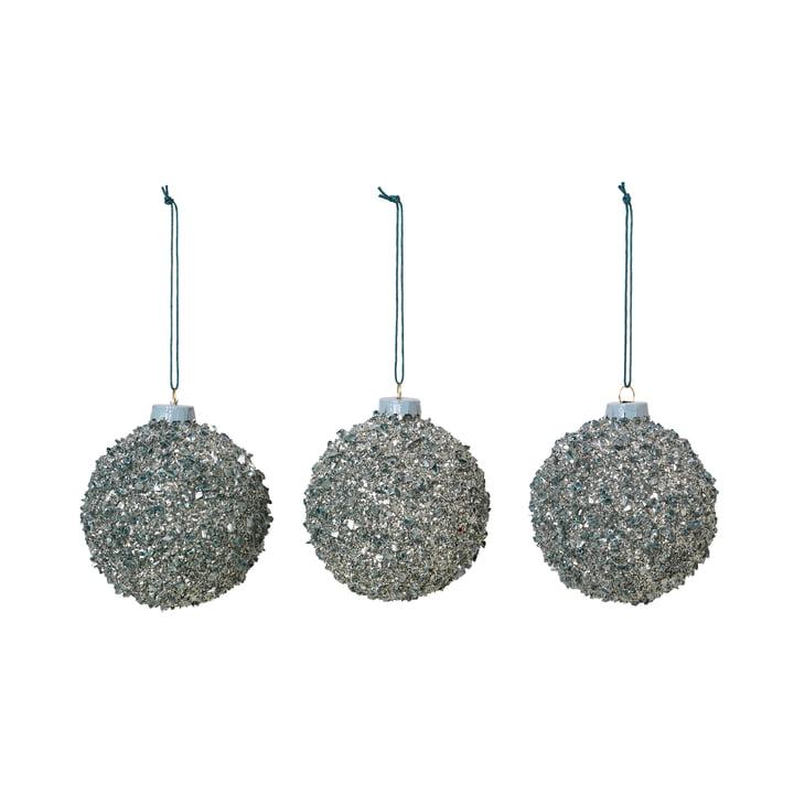 Broste Copenhagen - Glitter Christmas tree balls, Ø 8 cm, agave green (set of 3)