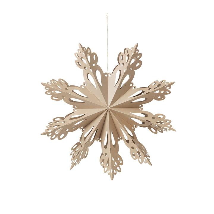 Broste Copenhagen - Christmas Snowflake Decorative pendant, Ø 30 cm, brown nature