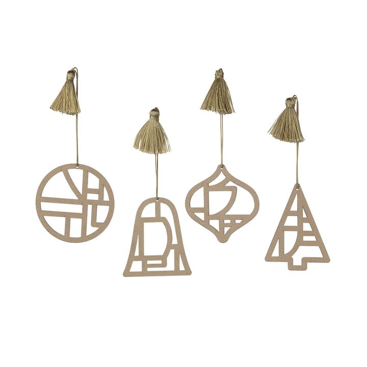 Broste Copenhagen - Christmas Fili Decorative pendant, Ø 8 cm, brown nature (set of 4)