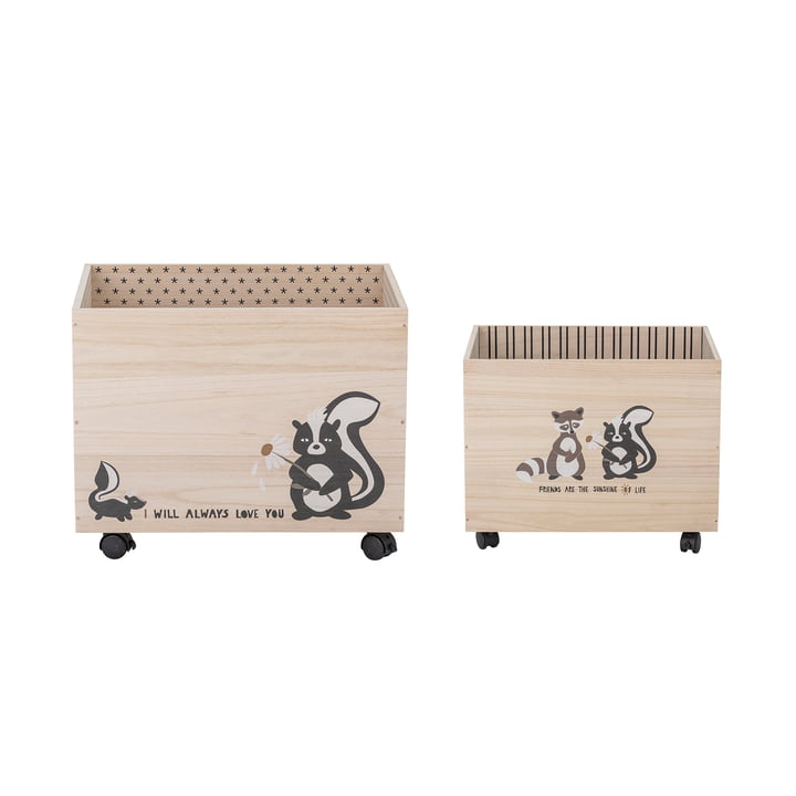 Nonni Storage box with wheels from Bloomingville made of paulownia wood in black (set of 2)