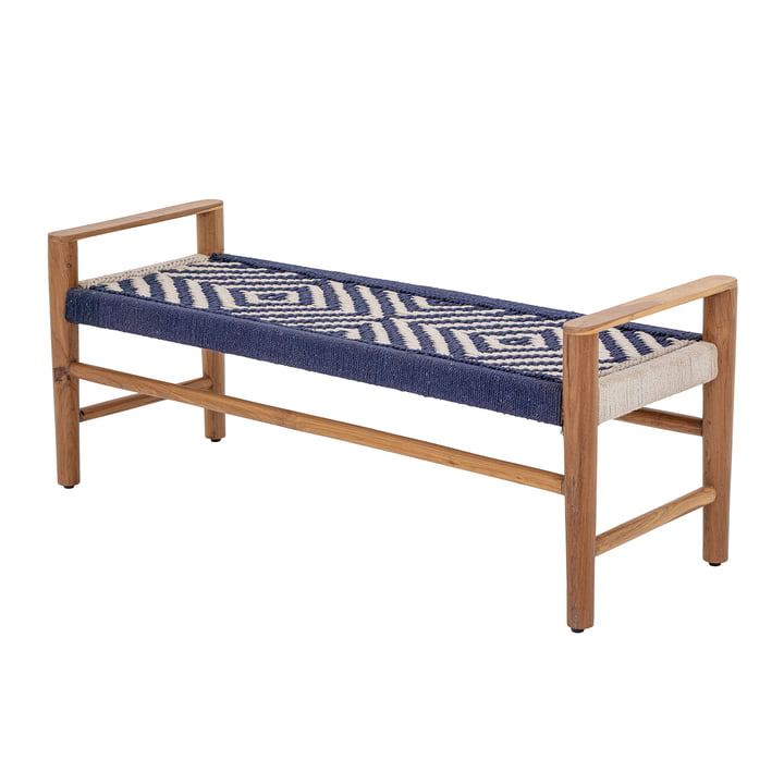 The Salme bench from Bloomingville , teak, blue