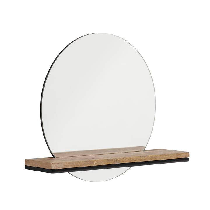 Lias Wall mirror with shelf, brown from Bloomingville