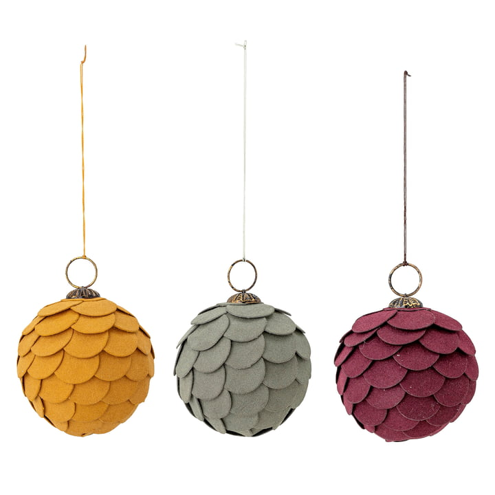 Pau Ornament Ø 7,5 cm from Bloomingville (set of 3) in multicolor