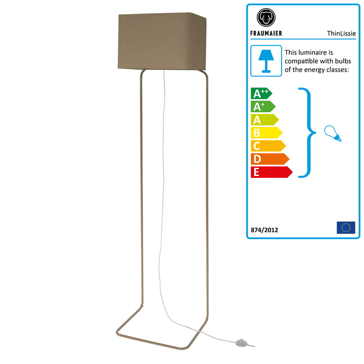 ThinLissie floor lamp with LED dimmer by frauMaier in taupe (RAL 7006)