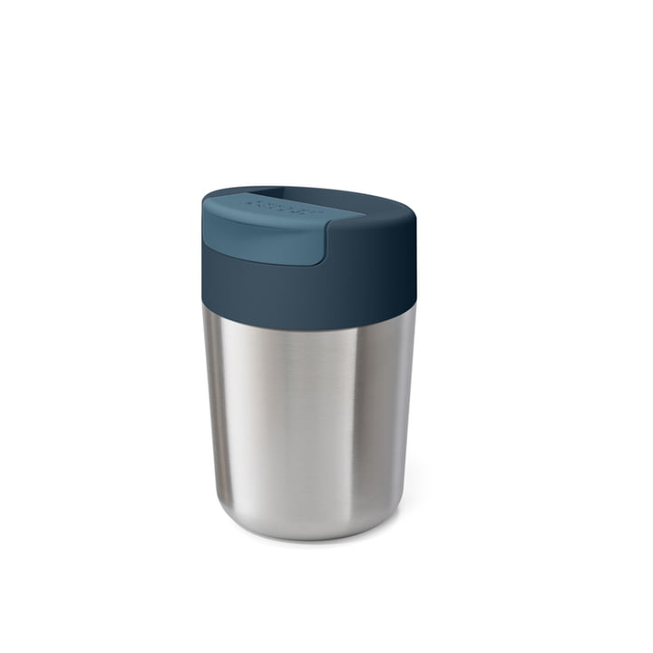 Sipp Travel mug with hinged lid 340 ml from Joseph Joseph in stainless steel anthracite