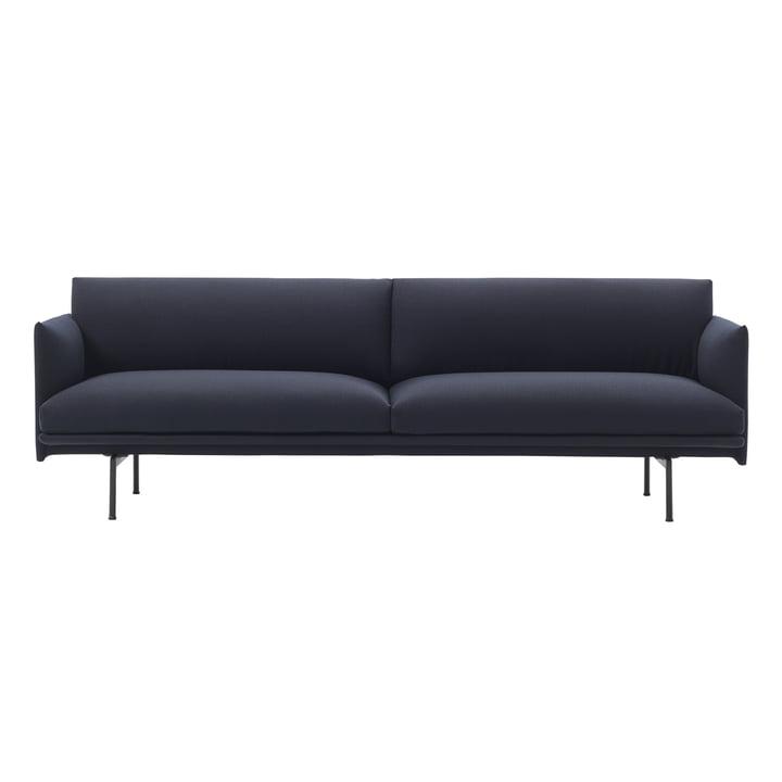 Outline Sofa 3-seater from Muuto in Vidar 554 / black
