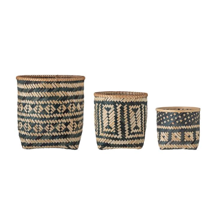 Jomo Storage baskets in set of 3 by Bloomingville in color black