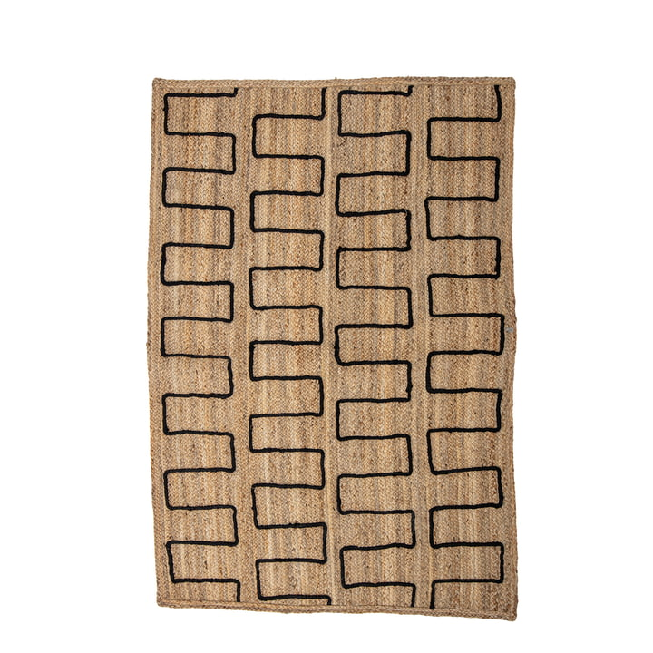 Dell Jute carpet 120 x 180 cm from Bloomingville in nature / black