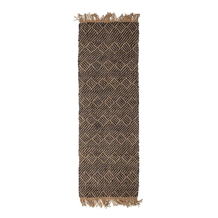 Aby Jute carpet 70 x 200 cm from Bloomingville in black / nature