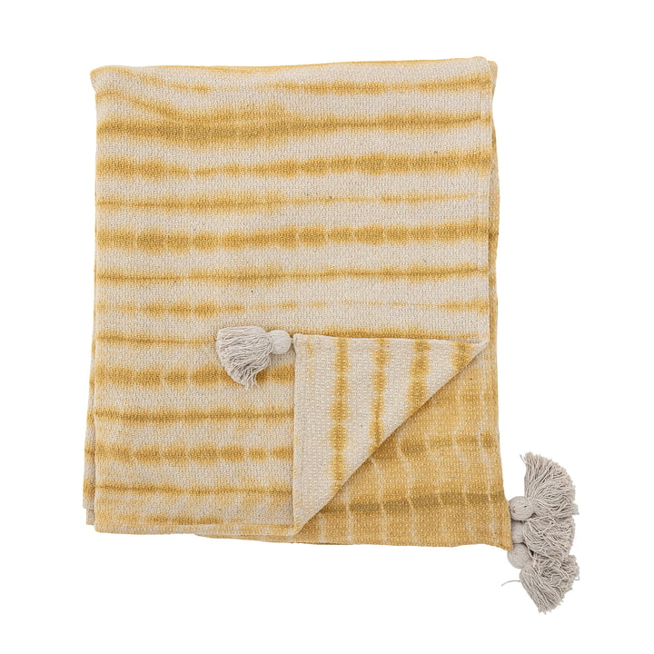 Decia Bedspread 220 x 260 cm from Bloomingville in yellow / white